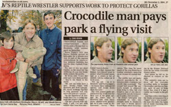 Crocodile man pays park a flying visit